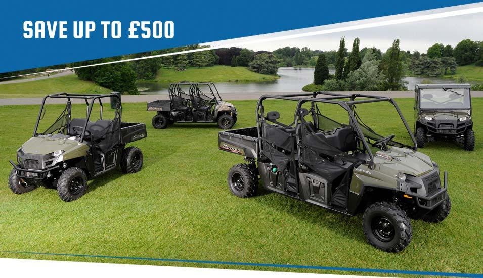 Save up to £500 on new Polaris Rangers & ATVs